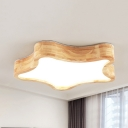 Nordic Style Star Ceiling Lamp Wood Acrylic Beige Stepless Dimming LED Flush Ceiling Light for Kindergarten
