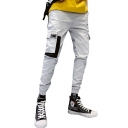 New Fashion Colorblocked Flap Pocket Elastic Cuff Slim Fit Cotton Cargo Pants for Men