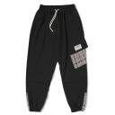 Men's Plaid Pattern Drawstring Waist Elastic Cuffs Men's Slim Fit Casual Cargo Pants
