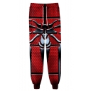 Hot Fashion Popular Spider Printed Drawstring Waist Unisex Casual Loose Sweatpants