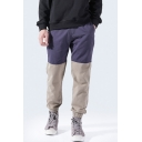 Men's New Fashion Color Block Elastic Cuffs Drawstring Waist Relaxed Casual Track Pants
