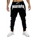 Hot Fashion Letter WAR Graphic Printed Drawstring Waist Casual Cotton Joggers Pencil Pants