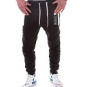 Men's Fashion Star Letter Printed Zipped Pocket Drawstring Waist Casual Joggers Sweat Pants
