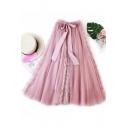 Girls Summer New Stylish Bow-Tied Waist Lace Panel Midi Flared Tulle Skirt