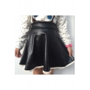 Unique Fashion High Rise Chic Lace Trimmed Mini A-Line PU Skirt