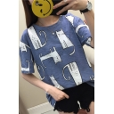 Fashion Cartoon Cat Pattern Round Neck Loose Casual T-Shirt