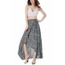 Summer Chic Floral Printed High Rise Maxi Cotton Asymmetrical Wrap Skirt