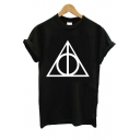 Summer Cool Simple Triangle Print Round Neck Short Sleeve Black T-Shirt