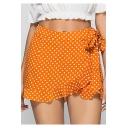 Girls Summer Fashion Yellow Polka Dot Printed Tied Waist Ruffled Beach Skorts