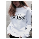 Womens Cool Street Letter YES BOSS Print Crewneck Long Sleeve Pullover Sweatshirt