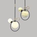 White/Stained Glass Orb Pendant Light Modern 2-Light Hanging Lamp over Dining Table