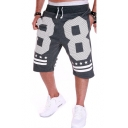 Summer Hot Fashion Letter 88 NEW YORK Stripe Stars Printed Drawstring Waist Casual Relaxed Cotton Sweat Shorts for Men