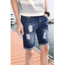 Summer Fashion Vintage Washed Ripped Detail Rolled Cuffs Denim Shorts for Men