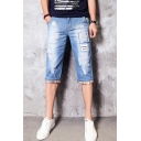Summer Fashion Vintage Washed Letter Patched Ripped Detail Rolled Cuffs Zip-fly Light Blue Denim Shorts for Men