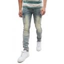 Men's Popular Fashion Flap Pocket Side Vintage Washed Skinny Fit Cargo Jeans