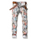 Men's Trendy Fashion All-over Printed Stretch Fit White Casual Jeans