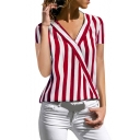 Summer Trendy Vertical Wide Striped Printed Surplice V-Neck Short Sleeve Loose Fit Blouse Top