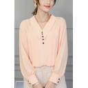 Summer Fashion Button Front Pointed Collar Long Sleeve Simple Plain Chiffon Blouse