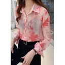 Summer Vintage Tie Dye Long Sleeve Casual Sun Protection Chiffon Over Shirt