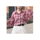 Girls Vintage Plaid Printed Batwing Sleeve Sun Protection Over Shirt