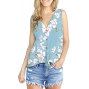 Summer Stylish Chic Floral Printed V-Neck Sleeveless Knotted Hem Loose Button Down Blouse