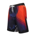 Men's Fashion Letter Print Casual Drawstring Waist Sport Beach Shorts Swim Trunks with Pocket and Mesh Lining
