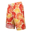 Summer Popular Orange Grapefruit Stripe Printed Drawstring Waist Beach Shorts Swim Trunks for Men with Pocket and Mesh Liner