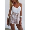Summer Womens New Fashion Pattern Apricot Tied Waist Wide-Leg Paperbag Shorts