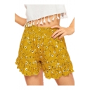 Womens Summer Popular Yellow Floral Print Ruffled Hem Loose Fit Shorts