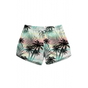 Womens Summer Fashion Tropical Printed Quick Drying Swim Shorts Beach Shorts