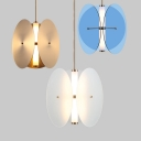 Blue/Gold/White Glass Circle Pendant Lamp Inner Acrylic Shade LED Suspension for Bedroom Restaurant, White Light