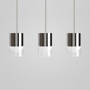 LED Cylindrical Hanging Pendant Lamp Glass Shade 3-Light Suspension in Chrome Finish
