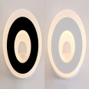 Black/White Oval Sconce Light Modern Simple Acrylic Shade LED Wall Lamp in White/Warm