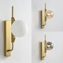 Amber/Smoke/White Glass Orb Wall Lighting Post Modern 1 Light Wall Lamp in Gold Finish