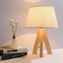 Tapered Shade Standing Table Light Asian Style Fabric 1 Light Desk Lamp with Wooden Tripod Base