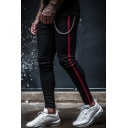 Men's Hot Fashion Contrast Stripe Side Chain Embellished Black Skinny Denim Pencil Pants