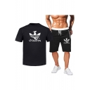 Fashion DRACARYS Dragon Printed Casual Tee with Drawstring Waist Sport Sweat Shorts Two-Piece Set