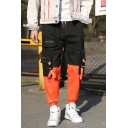 Men's Hot Trendy Colorblock Buckle Strap Flap Pocket Side Mini Zipped Pocket Embellished Hip Pop Cargo Pants