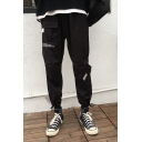 Men's Hip Pop Style Letter Printed Multi-pocket Design Drawstring Cuffs Black Casual Cargo Pants