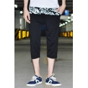 Men's Summer New Fashion Leaves Printed Black Cropped Casual Pants