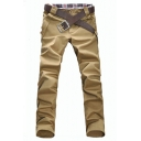 Men's Simple Fashion Solid Color Button Embellished Slim Fit Casual Pants