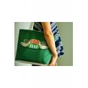Friends CENTRAL PERK Coffee Cup Printed Vintage Green Canvas Shopping Bag Shoulder Bag 32*40*10cm