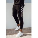 Men's Trendy Logo Pattern Diagonal Stripes Printed Side Casual Slim Fit Jogging Sweatpants