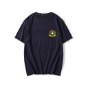 Simple Planet Pattern Short Sleeve Round Neck Navy Cotton Tee