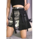 Summer Cool Girls Popular Camo Patched Buckled Pocket Mini A-Line Asymmetric Skirt