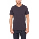 Guys Simple Plain Round Neck Short Sleeve Fitted Cotton Tee