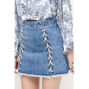 Womens Sweet Cool Unique Summer Lace-Up Front Blue Raw Hem Mini A-line Denim Skirt