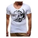Mens Cool Lion Print V-Neck Short Sleeve Slim Fit T-Shirt