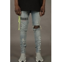 Men's New Stylish Letter Bar Code Printed Light Blue Skinny Ripped Jeans with Holes