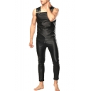 Cool Black PU Leather Sleeveless Mens Rompers Jumpsuit Party Overalls Sexy Clubwear